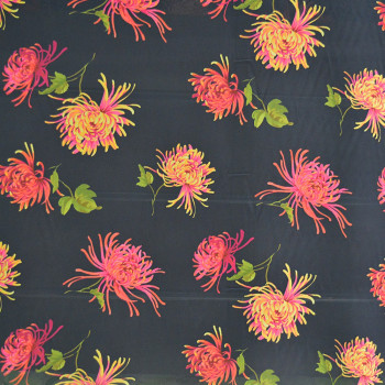 Georgette fabric printed with exotic flowers