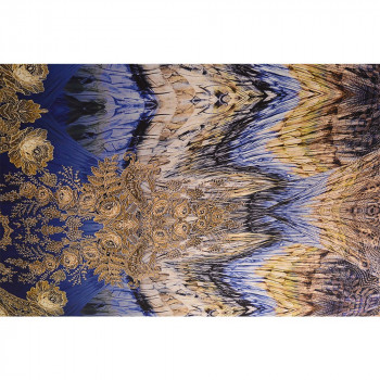 Purple gold feather printed silk satin fabric
