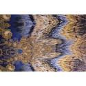 Tissu satin de soie imprimé plumes dégradé violet or