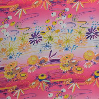 Tissu georgette imprimé fleurs cosmiques
