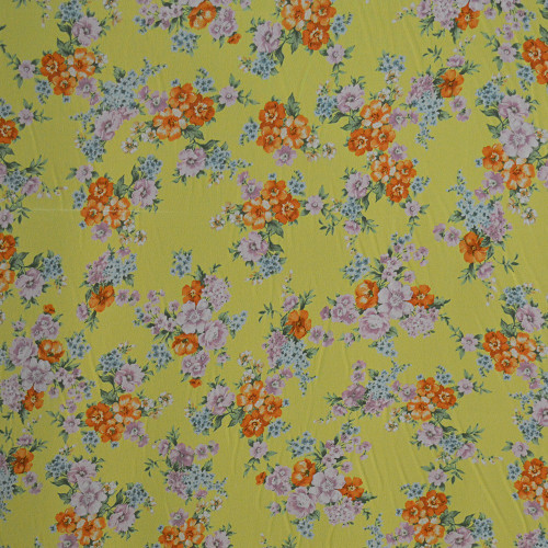 Georgette fabric with floral bouquets