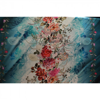 Tissu satin de soie imprimé motif japonais kimono