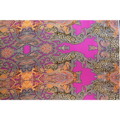 Tissu satin de soie imprimé paisley léopard fuschia