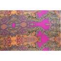Tissu satin de soie imprimé paisley léopard fuchsia