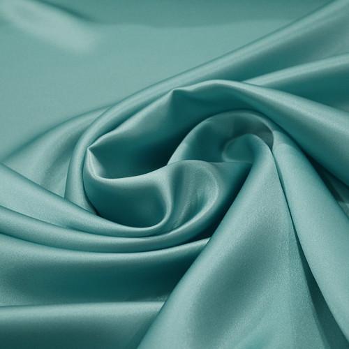 Tissu satin 100% soie bleu lagon