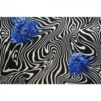 Tissu mousseline de soie imprimé zèbre fleur bleue