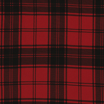 Plaid clan fabric red and black