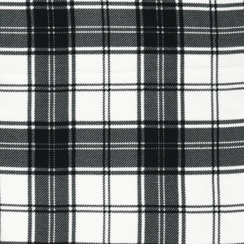 Plaid clan fabric black and white