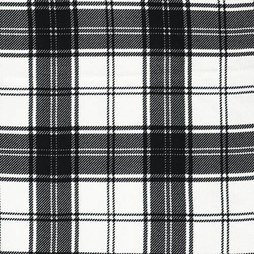 Tissu clan tartan à carreaux noir et blanc