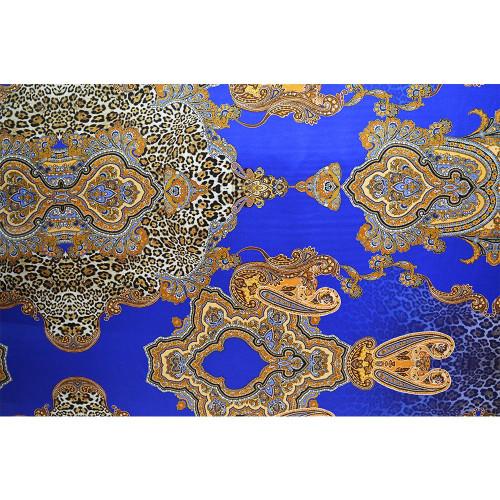 Blue leopard paisley print silk satin fabric