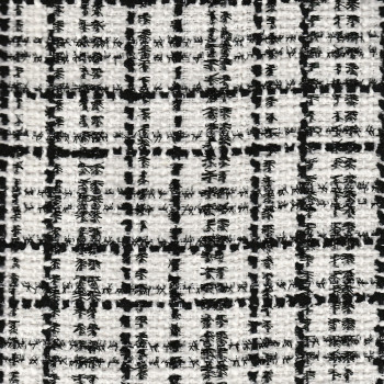 Iridescent tweed woven black and white fabric