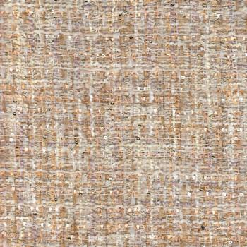 Iridescent tweed woven beige fabric