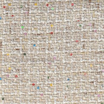 Tissu tissé et irisé effet tweed ivoire paillettes multicolores