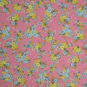Tissu georgette imprimé bouquets de fleurs