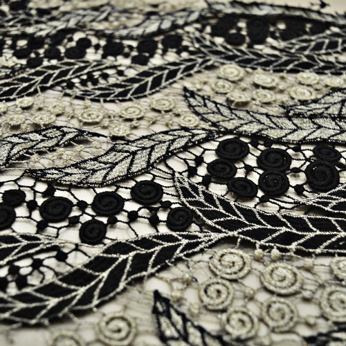 Black/gold lurex chemical lace guipure fabric