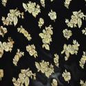 Metallic silk jacquard fabric on chiffon background