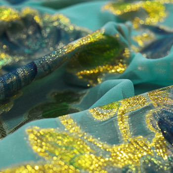 Metallic silk jacquard fabric on hand-painted chiffon background