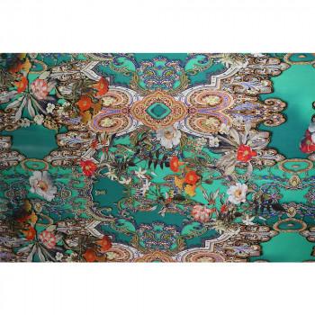 Tissu satin de soie imprimé floral vert jade