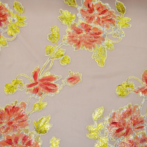 Metallic silk jacquard fabric on hand-painted chiffon background