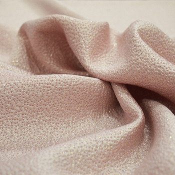 Pink and gold silk jacquard fabric (1.70 meters)