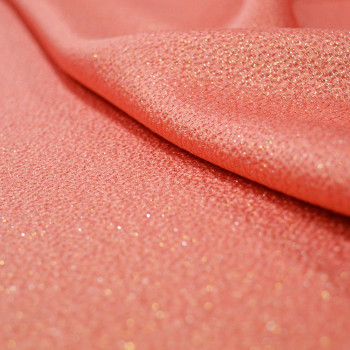 Coral and gold silk jacquard fabric