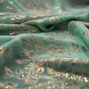 Tissu jacquard de soie métal sur fond mousseline vert jade