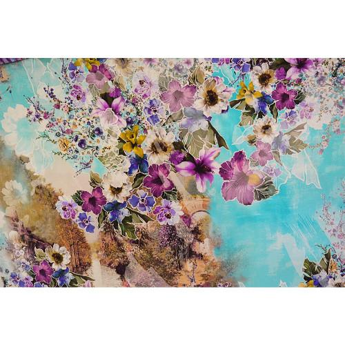 Tissu twill de soie imprimé floral printemps turquoise