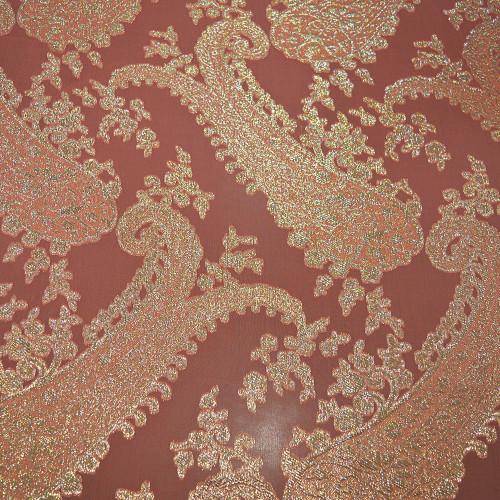 Tissu jacquard de soie métal sur fond mousseline corail