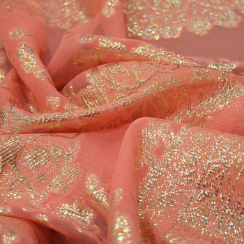 Metallic silk jacquard fabric with coral chiffon background