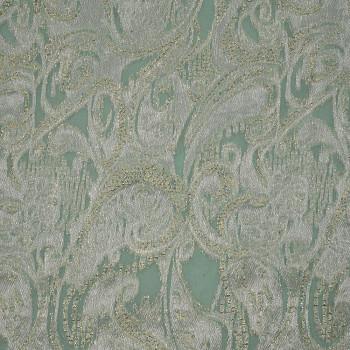 Metal silk jacquard fabric Nile green