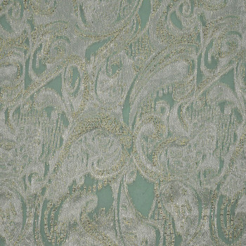 Tissu jacquard de soie métal vert Nil