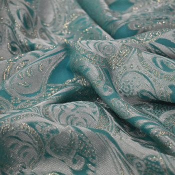 Metal silk jacquard fabric jade green