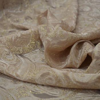 Gold metal silk jacquard fabric on nude chiffon