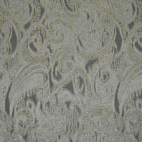 Metal silk jacquard fabric ivory