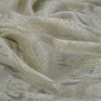 Gold metal silk jacquard fabric on ivory chiffon