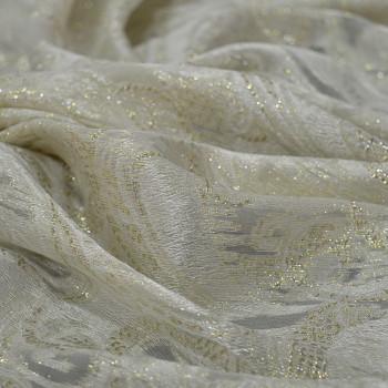 Tissu jacquard de soie tissé métal or sur mousseline ivoire