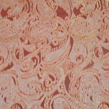 Metal silk jacquard fabric coral
