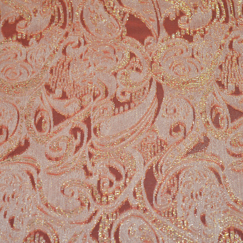Metal silk jacquard fabric coral