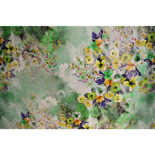Green spring floral print silk twill fabric