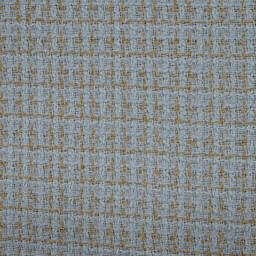 Tissu tissé et irisé effet tweed or et bleu