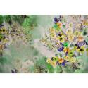 Green spring floral print silk twill fabric