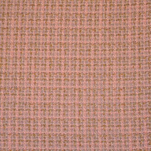 Tissu tissé et irisé effet tweed or et saumon