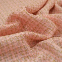 Iridescent woven tweed fabric gold and salmon