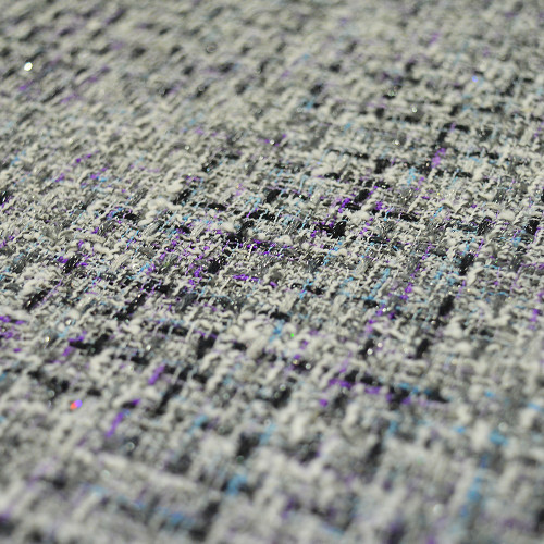 Iridescent woven tweed fabric gray and purple