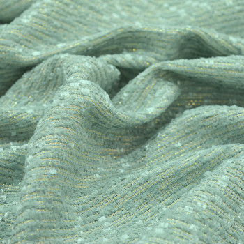 Iridescent woven tweed fabric almond green