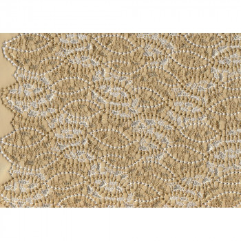 Tissu guipure ivoire feuille d'or