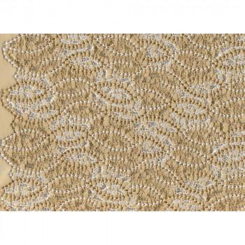 Tissu guipure ivoire feuille d'or
