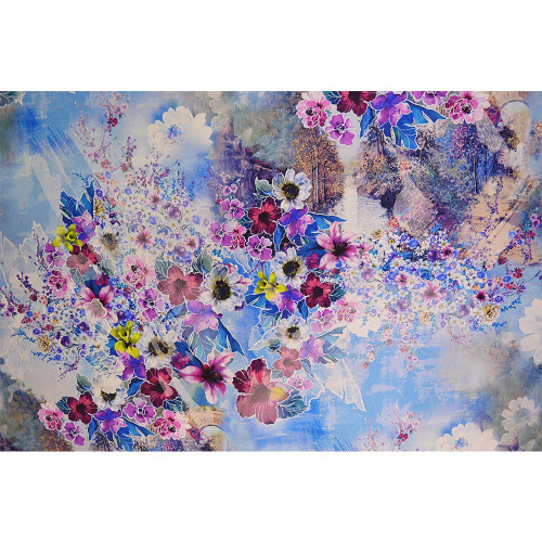 Lavender blue floral print silk twill fabric