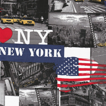TIssu popeline 100% coton I Love New York