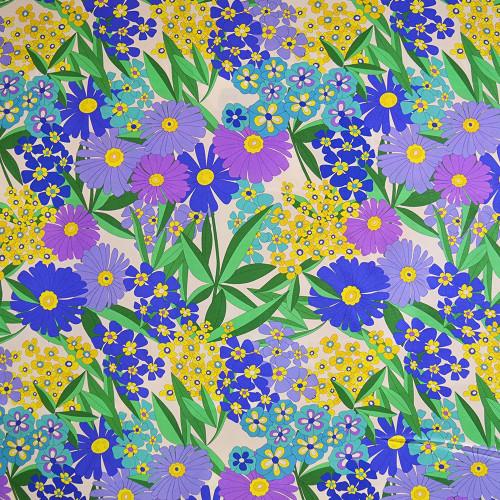Tissu crêpe de chine soie imprimé floral 60's